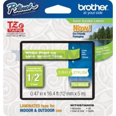 BROTHER TZ LAMINATED TAPE WHITE ON LIME GREEN 12 MM X 5 M